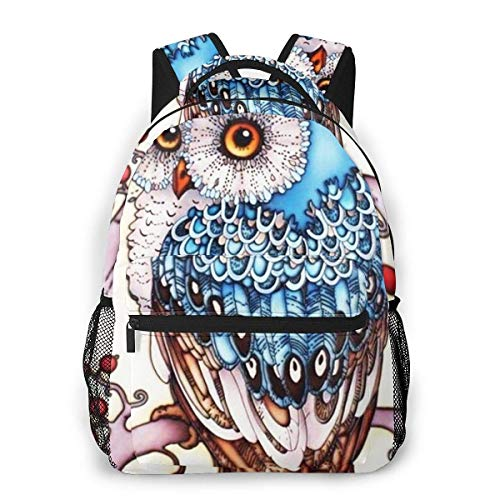 Lawenp Owl Painting Casual Backpack For School Outdoor Travel Big Student Fashion Bag