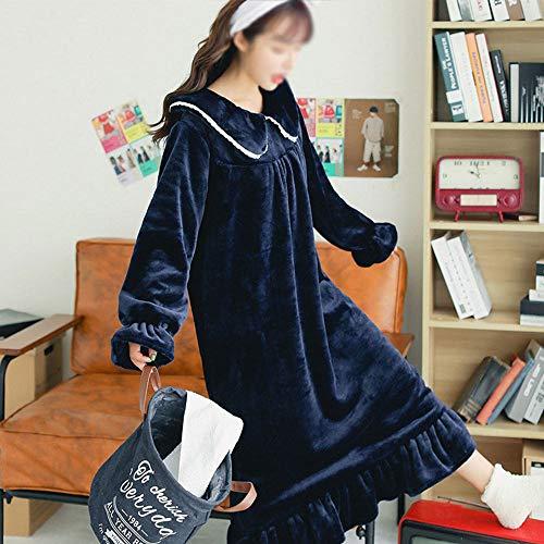 HYM Damen Winter Cute Coral Velvet Verdickung Robe Flanell Pyjamas Damen Bademantel Nachthemd,Navy-L
