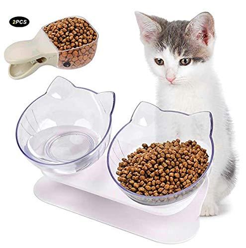 Legendog Futternapf Katze, Erhöhte Doppelter Futternapf Futternäpfe Katzenfutter mit rutschfeste Basis Kippen Katzen Schüssel für Katzen und Hündchen 28,5 * 16 cm