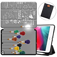 MAITTAO iPad Mini 5 2019 Case with Apple Pencil Holder,Folio Stand Smart Cover Soft TPU Back Shell For iPad Mini 4 4th/5th Gen 7.9'' 2019 2015 With Tablet Sleeve Bag 2 in 1 Bundle, Creative Bulb 6
