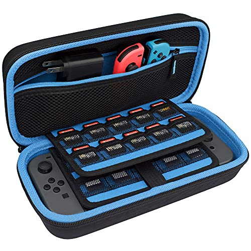 TAKECASE Carrying Case for Nintendo Switch - Protective Hard Case - Includes Accessories Pouch That Fits Extra Joy Cons, 16 Game Cards, Adapter/Charger and Cables - Blue/Black