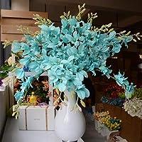 CENPEN ドライフラワー 花材セット 1PC人工蘭の花支店 シルクフラワーのホーム結婚式の庭の装飾はテーブル装飾的な花のダイニング 手芸クラフト ハーバリウム花材 (Color : Sky Blue)