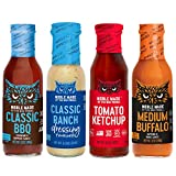 Noble Made by The New Primal Whole30 Approved 4-Count Variety Pack Starter Kit: Medium Buffalo Sauce, Ketchup, Classic Ranch Dressing, Classic BBQ Sauce