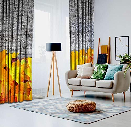 QAQA herfst bladeren over oude houten tafel landelijke natuur landelijke stijl rustieke decoratie kunst geel grijs gordijn 1.1m*1.3m