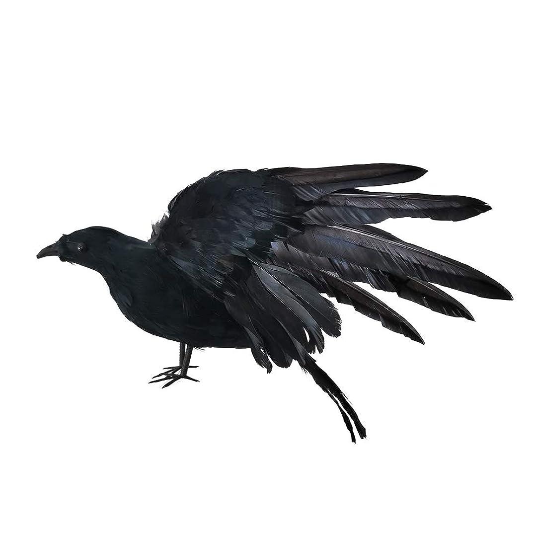 傑出した音指定WERULIG ハロウィンカラス飾り 模擬カラス 超大サイズ 広がる羽 カラスおもちゃ リアル 生き生き シミュレーションカラス 防鳥防獣対策 ハロウィーン道具 部屋/ハロウィン/パーティー飾り 38cm