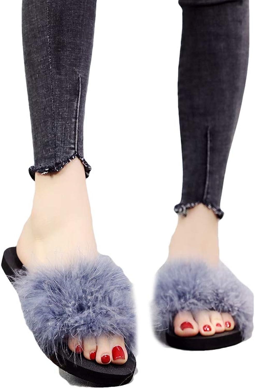Qi meims Women's Platforms Ostrich Feather EVA Open-Toe Antiskid Slip-on Outdoor Middle-Heel Summer Casual Wedge Sandals