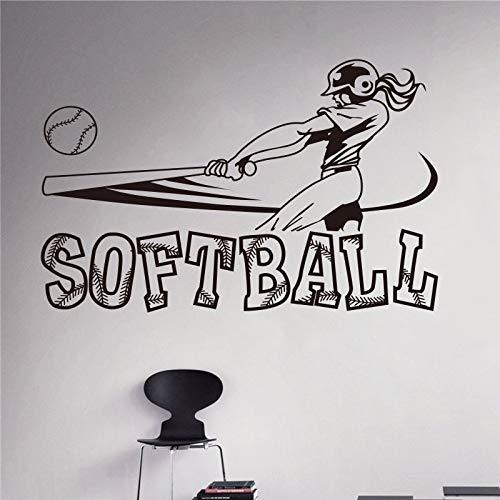 Pegatinas de Pared Adhesivos Pared Softbol Deportes Chicas Adolescente Diseño de Softbol Interior de la casa Arte de la Pared Murales Diseño de artículos para el hogar 58x82cm