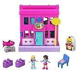 Polly Pocket Pollyville Le Restaurant, 2 mini-figurines Polly et Shani, accessoires et autocollants, jouet enfant, édition 2019, GGC30