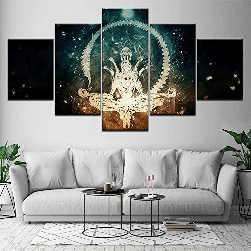 cuadros decoracion salon modernos 5 piezas lienzo grandes xxl murales pared hogar pasillo Decor Arte Pared Abstracto Personajes de la película depredador alienígena HD Impresión Foto Innovador Regalo