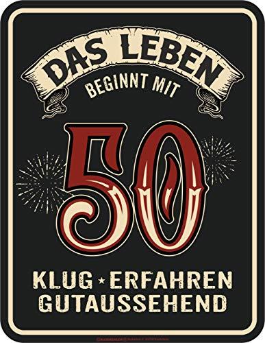 RAHMENLOS Deko Blechschild als Geschenk zum 50. Geburtstag - Das Lebenb eginnt mit 50