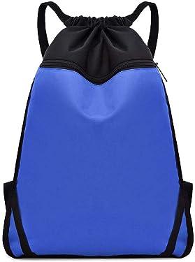Drawstring Backpack String Bag Cinch Water Resistant Shopping Sports Gym Bags Sackpack for Men Women (Royal Blue)