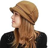 BLACK HORN Womens Newsboy Cabbie Beret Cap Cloche Visor Hats (Linen/Cotton- Tan)