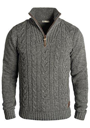 !Solid Pankraz Herren Winter Pullover Strickpullover Troyer Grobstrick mit Zopfstrickmuster und Reißverschluss, Größe:S, Farbe:Dark Grey (2890)