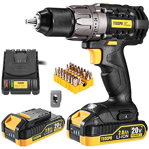 Cordless Drill, 20V Drill Driver 2x2000mAh Batteries, 530 In-lbs Torque, 24+1 Torque Setting, Fast Charger 2.0A, 0-1700RPM Variable Speed, 33pcs Accessories, 1/2' Metal Keyless Chuck, TECCPO