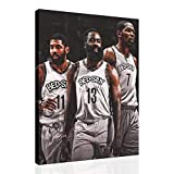 Santa RONA Kevin Durant James Harden Kyrie Irving Brooklyn Nets Poster Canvas Wall Art Basketball Print Posters Paintings Pictures for Bedroom Livingroom Decor (12x14inch,Canvas Rolls)
