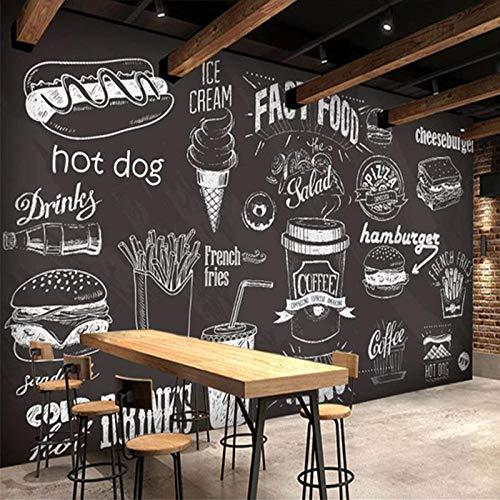 LXiFound Pegatinas De Pared Papel Tapiz Fotográfico 3D - Restaurante Helados Papas Fritas Comida - Papel Pintado No Tejido Mural Personalizado 3D Autoadhesivo Decoración Del Dormitorio Del Hogar