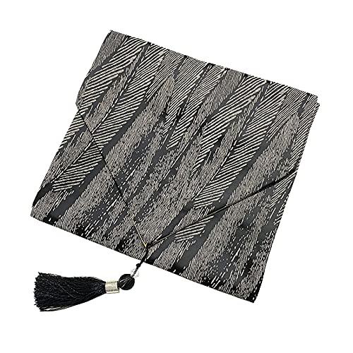 WSYW Toalla de mano de tela con diseño de plumas de alta precisión con borla, mantel individual gourmet de fondo para decoración de mesa de comedor del hogar, 33 x 180 cm, color negro