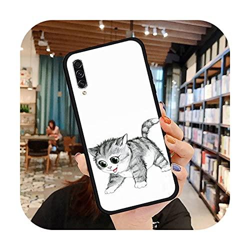 Lindo caso del teléfono del gato de la historieta para Samsung A20 A30 30s A40 A7 2018 J2 J7 Prime J4 Plus S5 Note 9 10 Plus-a7-Note10Plus