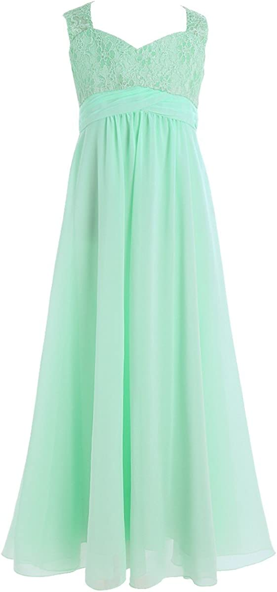 TiaoBug Chiffon Shoulder Strap Lace Flower Girl Dress Ruched High-Waisted Pageant Wedding Bridesmaid Birthday Party Maxi Gown