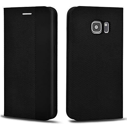 Aicoco Schutzhülle für Samsung Galaxy S7 Leder Hülle Flip Case Handyhülle - Schwarz