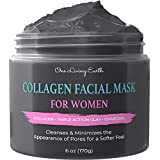 One Living Earth Collagen Facial Mask for Women - Pore Reducer for Acne, Blackheads, Oily Skin -...