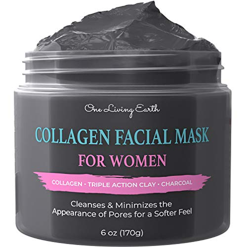 One Living Earth Collagen Facial Mask for Women - Pore Reducer for Acne, Blackheads, Oily Skin - Collagen, Triple Action Clay & Activated Charcoal - Face Masks Skincare for Women (6 oz)