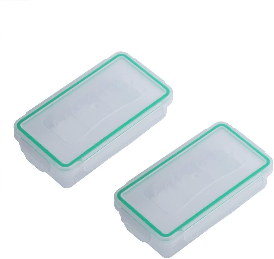 Acogedor 2pcs 18650 Battery Case Hard Wear-Resistant Waterproof Plastic Case 18650 Battery Holder Storage Box for Travel, Camping, Hiking, Home