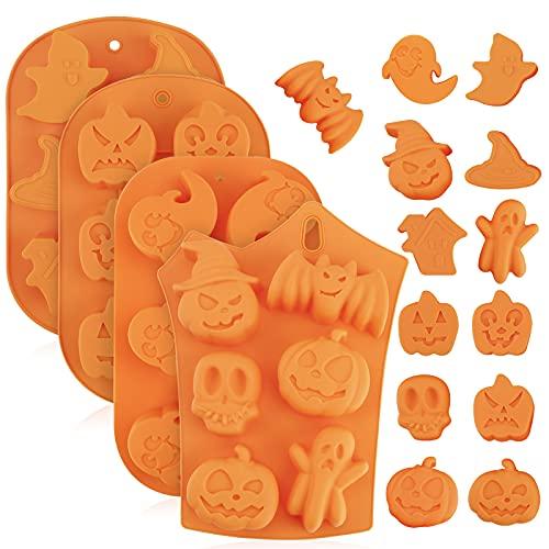 Gukasxi 4 stampi da forno in silicone per Halloween,stampi da forno in silicone con zucca pipistrello teschio fantasma forma cioccolato Cupcakes stampi in silicone per cucina fai da te strumenti