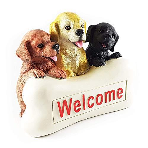 Wichtelstube-Kollektion Hundewelpen Innenbeleuchtet Solar Hunde Deko Figur Garten