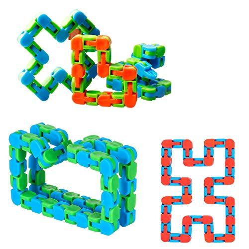 ZCOINS 48 enlaces 4 piezas Wacky Tracks Snap and Click Fidget juguetes para aliviar el estrés o bolsas de fiesta, varios colores