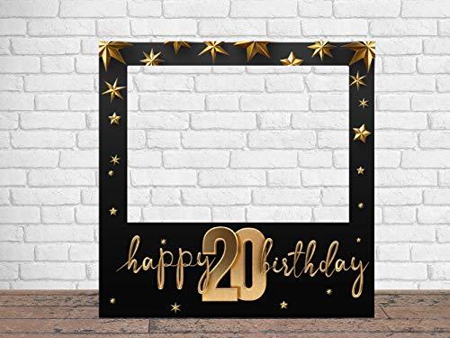 Photocall Feliz 20 Cumpleaños Estrellas 100 x100 cm | Regalos para Cumpleaños | Photocall Económico y Original | Ideas para Regalos | Regalos Personalizados de Cumpleaños