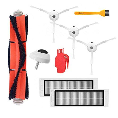 Accesorios para aspiradoras para XIAOMI MI robot mijia roborock Incluye 1 pieza Rueda delantera, 3 piezas Cepillo lateral, 1 piezas Cepillo principal, 2 piezas filtro hepa