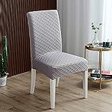 Fundas para sillas concisas de Comedor Fundas para sillas concisas elásticas de Gran tamaño, Paquete de 4 Fundas para sillas de Tela con Estampado extraíble y Lavable para Dini