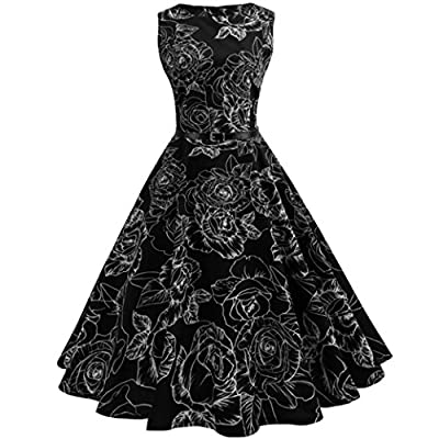 TAORE Long sleeve Women Sexy Floral Elegant Ball Gown Cocktail Dresses -Audrey Hepburn 1950s Vintage Rockabilly Swing Tea Dress
