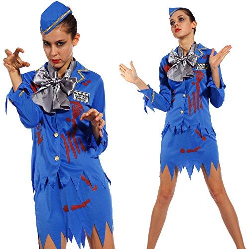 Maboobie - Disfraces de zombies para adulto Disfraz de enfermera zombie/novia zombie/azafata de avin zombie/presa zombie/Cheerleader zombie/universitaria zombie Costume Fiesta Carnaval Halloween (azafata de avin zombie) Talla nica