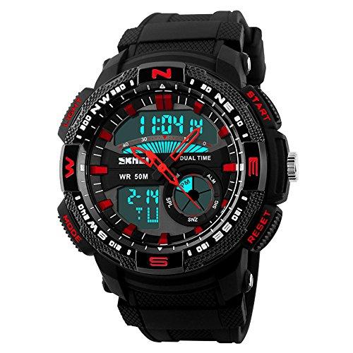 Orologi da uomo di sport digitale cinturino in resina multi-funzione Dual Time orologio da polso impermeabile