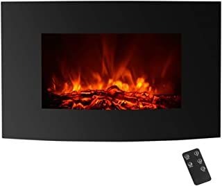IKAYAA Wall Mounted Electric Fireplace, 35 Inch Wall Hanging 3D LED Flame Fireplace Heater, Function with Thermostat Timer Overheating Protection, Adjustable 1500W Heater with Remote Control, Black
