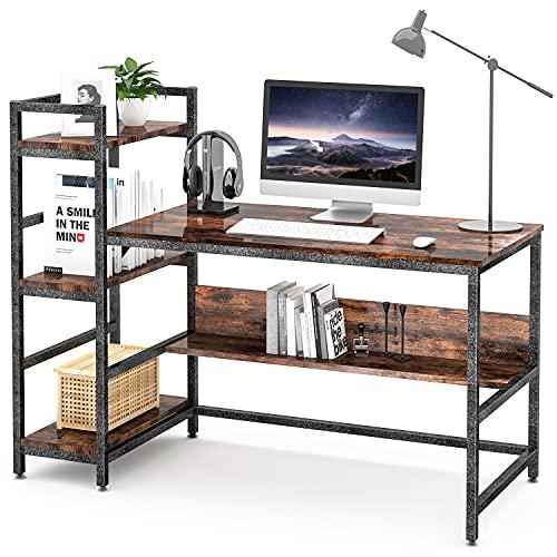 GIKPAL Schreibtisch mit Regalböden, 55 Inch Industriestil PC Schreibtisch, Computertisch aus Holz und Metall, Gaming Schreibtisch Bürotisch für Home Office (Vintagebraun)