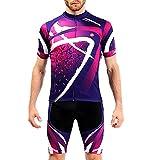 ZWPY Abbigliamento Ciclismo Uomo,Estiva Ciclismo Jerseys Manica Corta e Pantaloncini,Cuscino Gel 3D,Ciclismo Moda Set Completo,per Uomo,Ad Asciugatura Rapida Traspirante,S