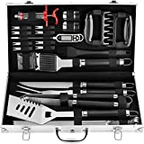 10. POLIGO 26PC Exclusive BBQ Grill Accessories in Aluminum Case for Birthday Christmas Grilling Gifts - Premium Grill Utensils Set with Barbecue Claws, Meat Injector, Thermometer for Smoker, Camping