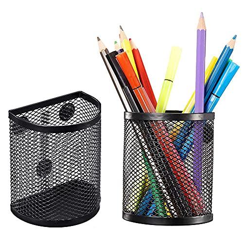 DEDC Magnetisk pennhållare uppsättning av 3, nätförvaringskorgar förvaring brevpapper med magneter för att hålla whiteboard, skåp tillbehör, svart
