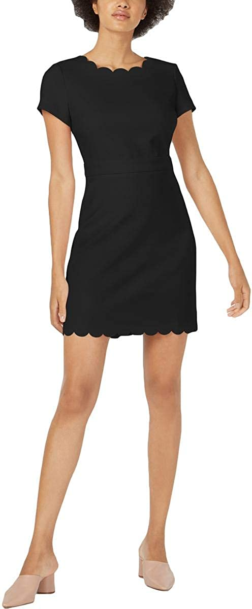 Maison Jules Womens Scalloped Sheath Cocktail Dress Black 4