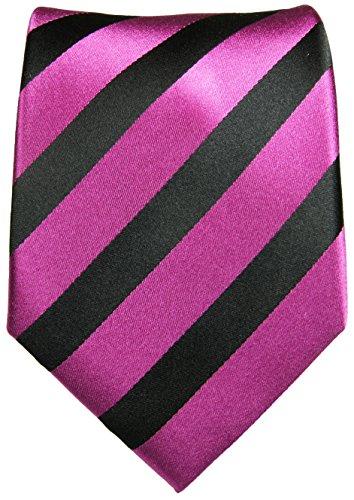 Cravate homme rose rayée noir 100% soie