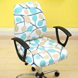 T-CYYT 2 Piezas Split Chair Cover Office Computer Chair Cover Elastic Seat Cover, Leaf Leaf Deep Separation Cover
