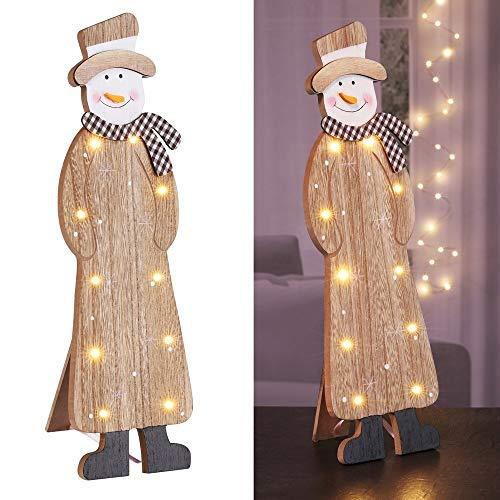 HI LED Deko Säule Schneemann mit 10 LEDs warmweiß Weihnachtsdeko Weihnachtssäule Holzsäule Holzdeko