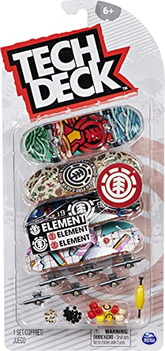 TECH DECK, Ultra DLX Fingerboard 4-Pack, Element Skateboards, Collectible and Customizable Mini Skateboards
