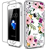 GiiKa iPhone 6 6s Case with Screen Protector, Not 6 Plus Clear Heavy Duty Protective Case Floral Girls Women Shockproof Hard PC Case with Slim TPU Bumper Cover Phone Case for iPhone 6s, Small Flowers
