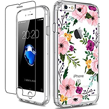 GiiKa iPhone 6 6s Case with Screen Protector Not 6 Plus Clear Heavy Duty Protective Case Floral Girls Women Shockproof Hard PC Case with Slim TPU Bumper Cover Phone Case for iPhone 6s Small Flowers