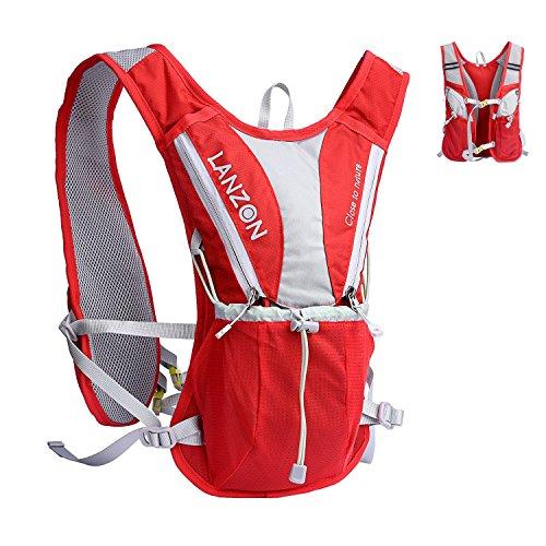 LANZON 2L Hydration Pack (NO Bladder), Marathon Running Vest, Hiking Cycling Backpack (2L Hydration Vest (NO Bladder) - Red)
