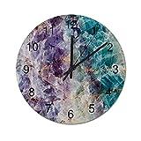 NANITHG Madera Reloj de Pared,Cristal Transparente Moda Mármol Mineral Rock,decoración de paredsin tictac,Utilizado en Sala de Estar/Dormitorio/Cocina/Oficina 30cm